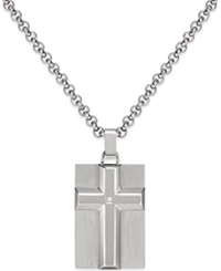 Macy's Men's Diamond Accent Raised Cross Pendant Necklace In Stainless Steel