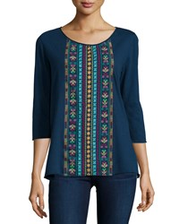 Jwla 3 4 Sleeve Geometric Embroidered Scoop Neck Tee Blue Dream