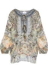 Camilla Woman Moto Maiko Tasseled Crystal Embellished Printed Silk Gauze Blouse Neutral