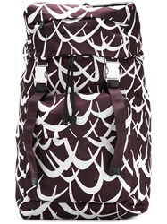 Marni Geometric Print Backpack Pink Purple