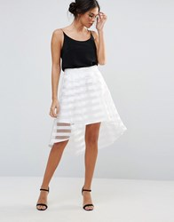 Amy Lynn A Line Skirt With Mesh Panel White