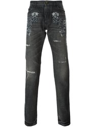 Dolce And Gabbana Embroidered Flower Jeans Grey