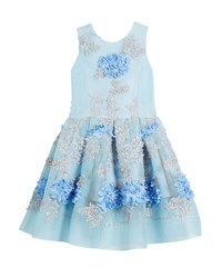 Zoe Perforated Mesh Flower Embroidered Dress Size 7 16 Blue