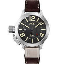 U Boat 8050 Classico Black Round Brown Strap Watch