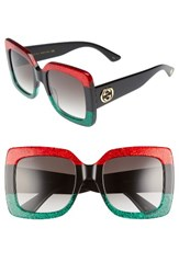 Gucci Women's 55Mm Square Sunglasses Red Black Green Grey Red Black Green Grey