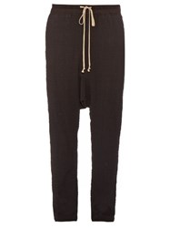 Rick Owens Dropped Crotch Seersucker Trousers Black