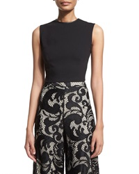 Alice Olivia Flynn Sleeveless Ponte Back Zip Top Black