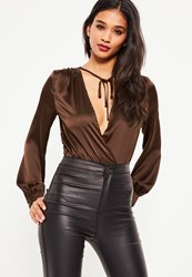 Missguided Brown Long Sleeve Tie Front Wrap Bodysuit