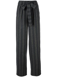 Roberto Collina Striped Tied Waist Trousers Grey