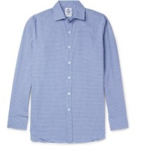 Cordings Slim Fit Spread Collar Gingham Brushed Cotton Shirt Blue