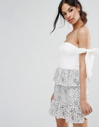 Missguided Tie Shoulder Lace Peplum Dress Multi