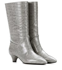 Marni Embossed Leather Boots Grey