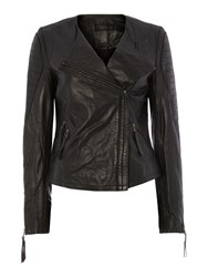 Label Lab Tribe Leather Biker Jacket Black