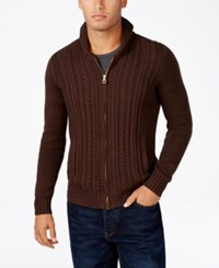 Sean John Men's Cable Knit Zip Up Cardigan Sweater Coffee Bean