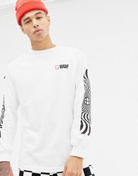 Huf X Spitfire Long Sleeve T Shirt With Sleeve Print In White