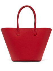 Mansur Gavriel Triangle Leather Tote Red