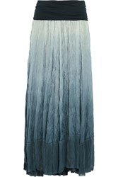 Donna Karan Broomstick Crinkled Stretch Silk Maxi Skirt Blue