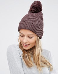 Asos Knitted Pom Beanie In Mixed Knit Dark Pink
