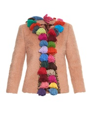 Stella Jean Salem Pompom Trim Wool Blend Jacket