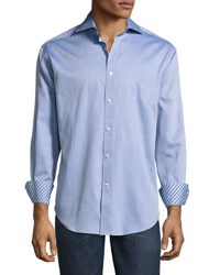 Neiman Marcus Striped Woven Button Front Shirt Blue