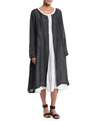 Eskandar Long Sleeve Pleated Long Coat Dark Elephant Elephant Dark