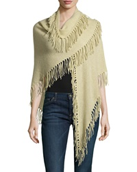 Minnie Rose Cashmere Fringe Trim Wrap Fatigue