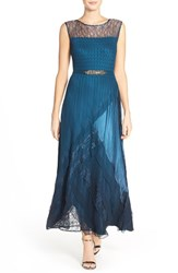 Women's Black By Komarov Illusion Mixed Medium Gown Moroccan Blue Ombre