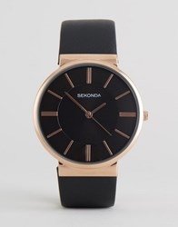 Sekonda Black Leather Watch With Rose Gold Dial Exclusive To Asos Black