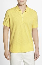 Men's Robert Graham 'Cliff Dive' Slub Cotton Pique Polo Pale Yellow