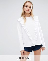 Reclaimed Vintage Sweat Jumper With Deep V Frill White