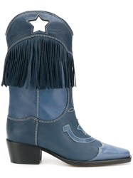 Ganni Tove Western Style Boots Blue