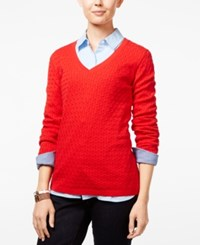 Tommy Hilfiger Ivy Cable Knit Sweater Racing Red