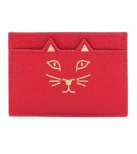 Charlotte Olympia Feline Leather Card Holder Red