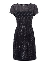 Adrianna Papell Evening Short Beaded With Peal Dress Navy