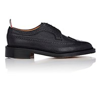 Thom Browne Men's Leather Wingtip Bluchers Black Blue Black Blue