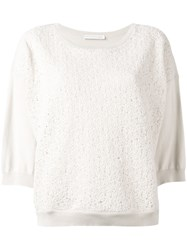 Fabiana Filippi Tweed Detail Jumper Grey