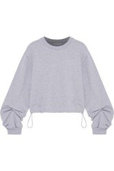 3.1 Phillip Lim Ring Detailed French Cotton Terry Sweatshirt Light Gray