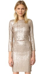 Alice Olivia Lebell Sequin Crop Top Nude Pink