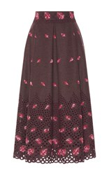 Luisa Beccaria Floral Embroidered Eyelet Skirt Burgundy