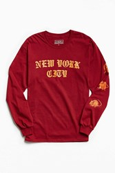 Urban Outfitters New York City Rats Long Sleeve Tee Red