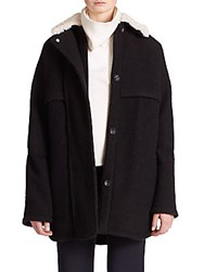Opening Ceremony Morgane Faux Fur Bonded Wool Coat Black