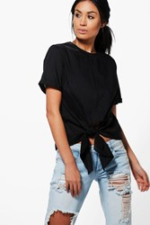 Boohoo Knot Tie Front Short Sleeve Woven Shirt Black