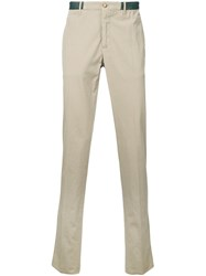 Incotex Contrast Waistband Chino Trousers Brown