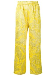 Aspesi Jacquard Wide Leg Trousers Yellow