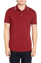 French Connection Men's Tipped Pique Polo Tibetan Red
