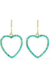 Jennifer Meyer Heart 18 Karat Gold Turquoise Earrings One Size