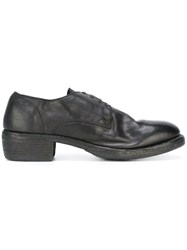 Guidi Distressed Derby Shoes Black