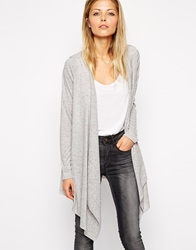 Asos Cardigan With Waterfall Front Grey