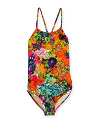 Milly Minis Floral Cross Back One Piece Swimsuit Multicolor Size 8 14