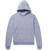 John Elliott Pile Melange Cotton Blend Terry Hoodie Blue